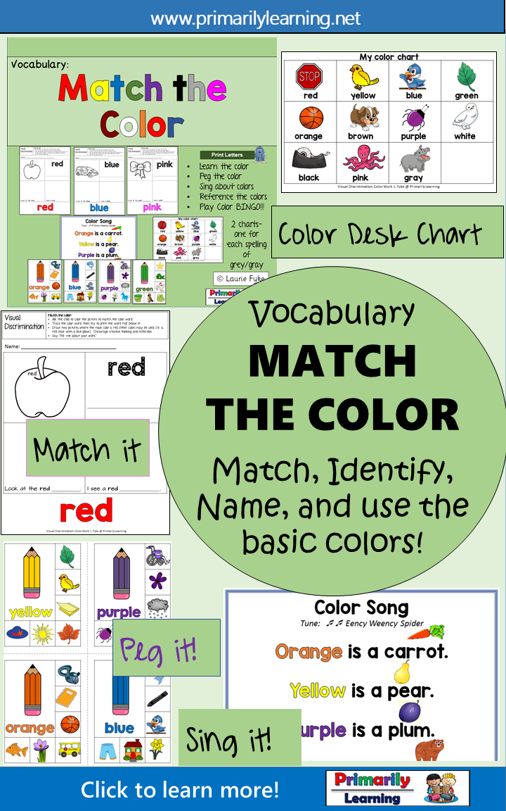 Vocabulary: Kindergarten Color Matching Printable Activities ...