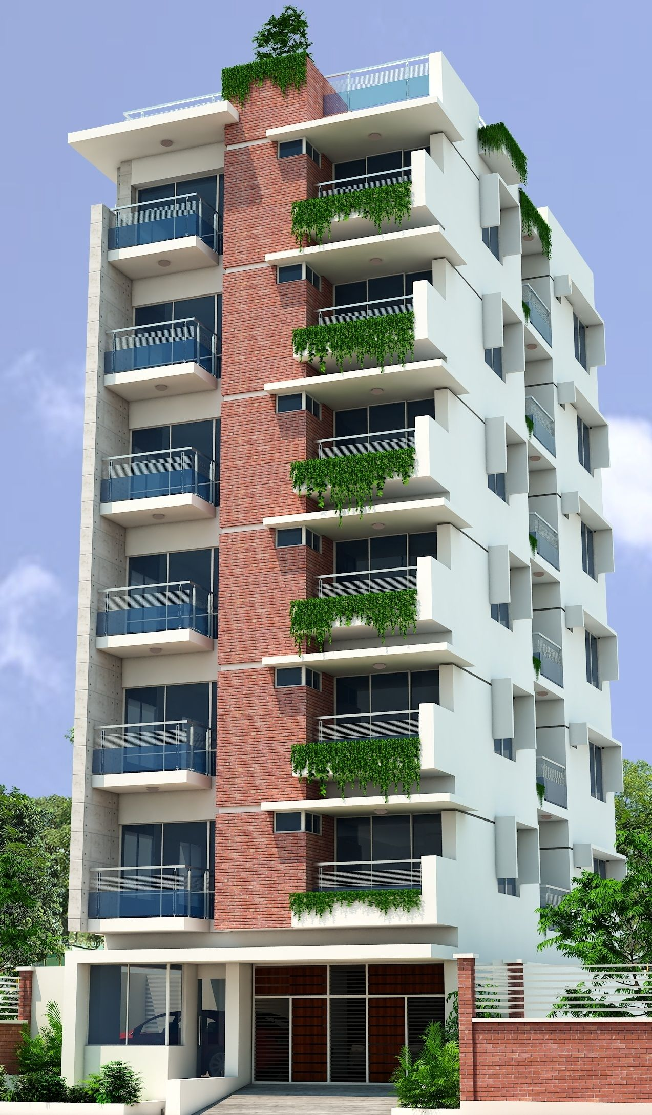 7 Storied Residential Building 3d View Facade Architecture
