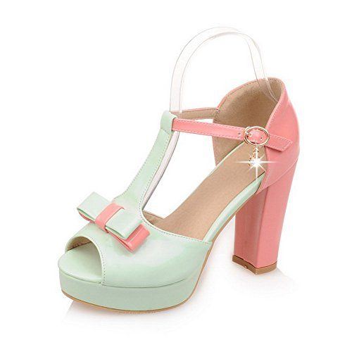 WeiPoot Womens PU Assorted Color Buckle Peep Toe HighHeels HeeledSandals Green 41 * For more information, visit image link.