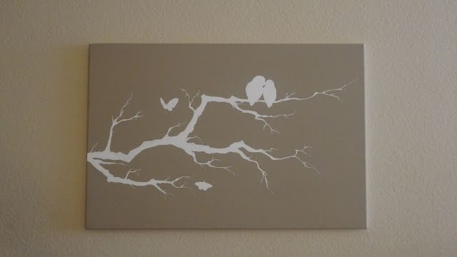 DIY Birds on a Branch Painted Canvas ~ From: CreatingHappinessCrafts