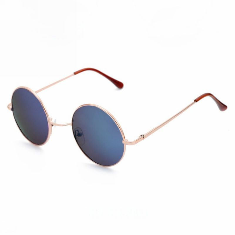 Round Mirror Blue Lens Gold-Tone Metal Circle Frame Sunglasses ...