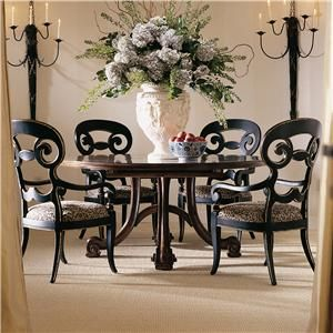 Consulate Hortense Round Dining Table And 4 Arm Chairs By Century At Spears  Furniture