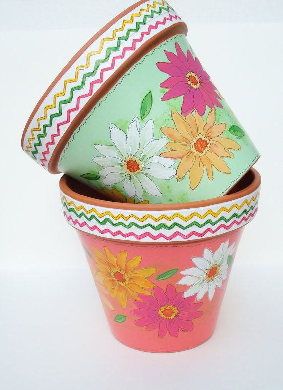 hand painted planter 8 inch terracotta pot by thepaintedpine