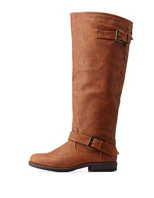 9c2682c4e5adf1 Bamboo Studded Back-Zipper Knee-High Riding Boots  Charlotte Russe ...