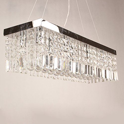 Lightinthebox clear k9 crystal chandelier dining room light fixtures polished chrome finish modern rectangle chandeliers pendent