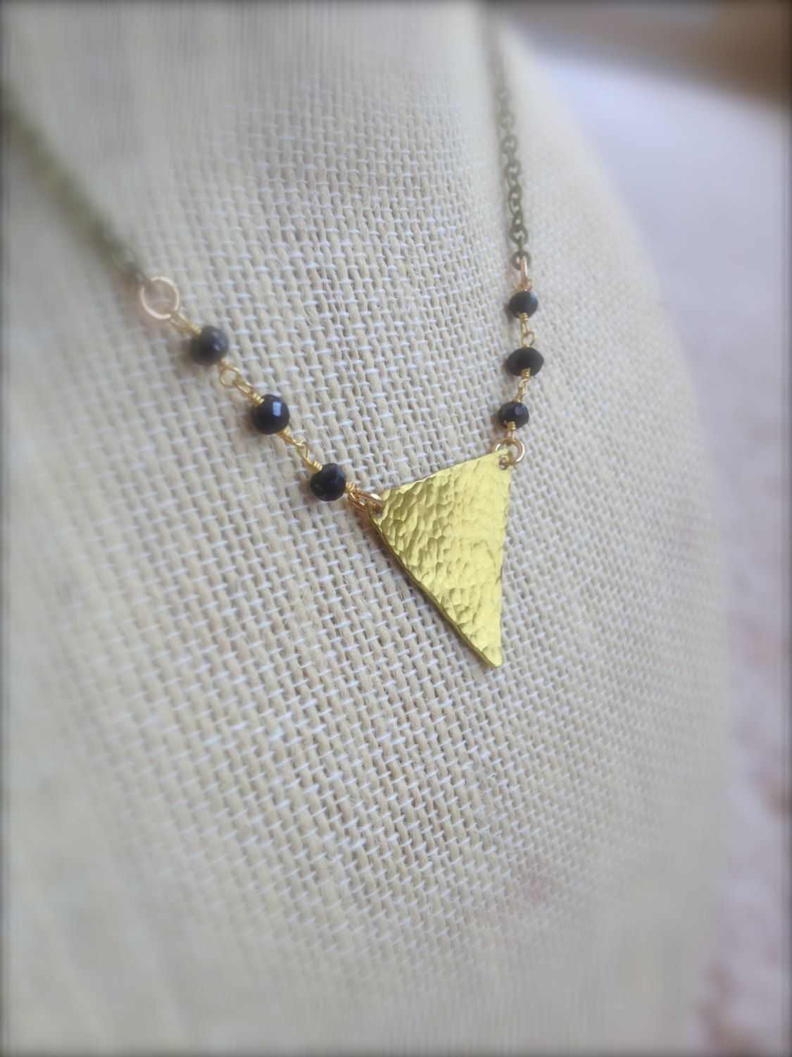 Hammered Brass Triangle Necklace w/ Black Spinel Rosary Beads / Handmade Boho Chic Geometric Jewelry by MuffyandTrudy on Etsy