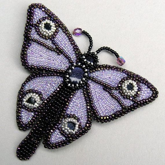 Bead Embroidered Butterfly Brooch with Sapphires and by lindmel, £79.00