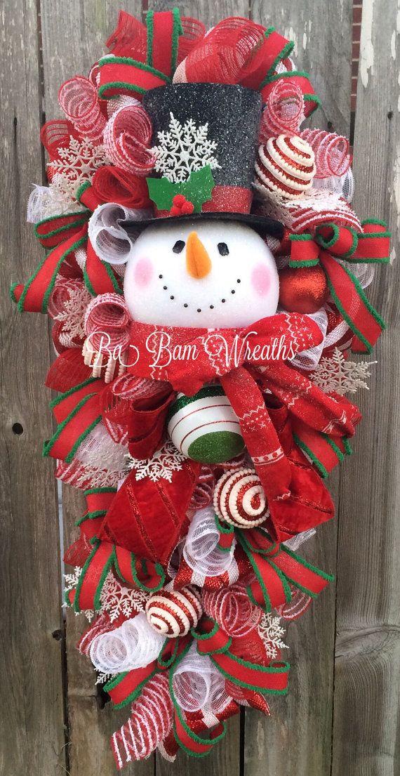 Snowman Wreath Snowman Decor Snowman Door Christmas Wreath Etsy Christmas Wreaths Snowman Decorations Xmas Wreaths