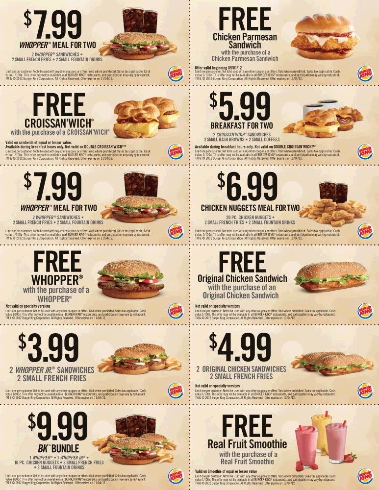 Two-for-one sandwiches, smoothies and more at Burger King