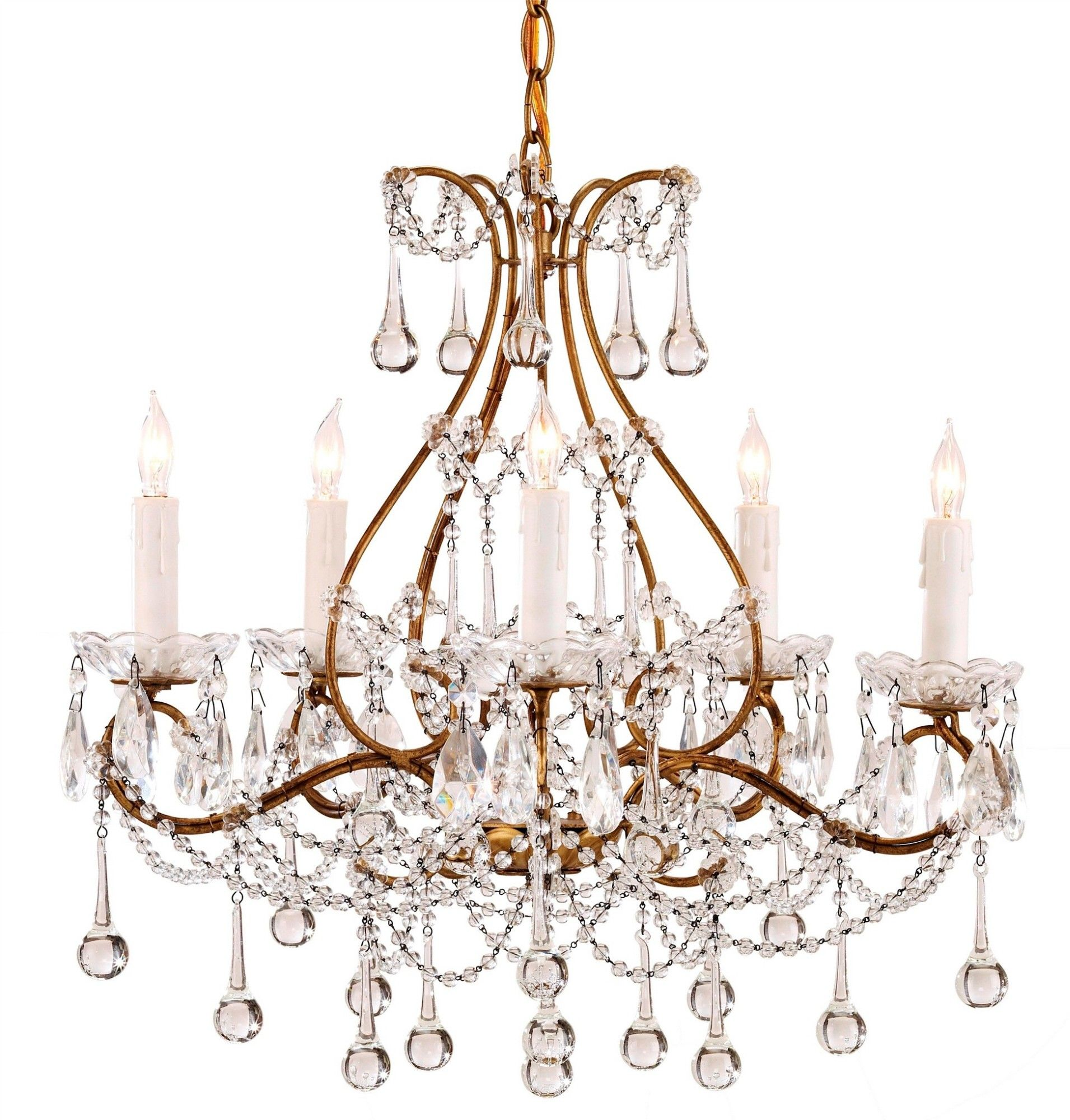 The Paramour Chandelier, with its array of teardrops and strands of crystal, is the embodiment of grace and splendor. The classic contour's rich Smoke Gold finish confers a sense of grandeur to this time-honored style. The chandelier measures 19