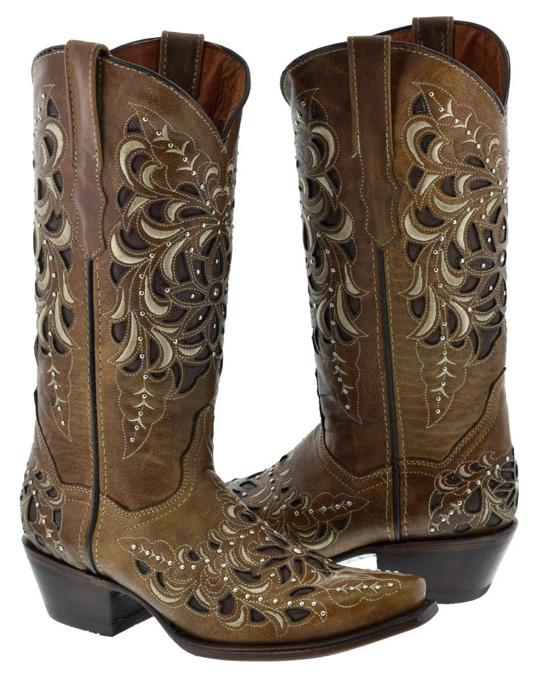 Women's Light Brown Inlay Rose Design Embroidered Cowgirl Western Boots Snip Toe