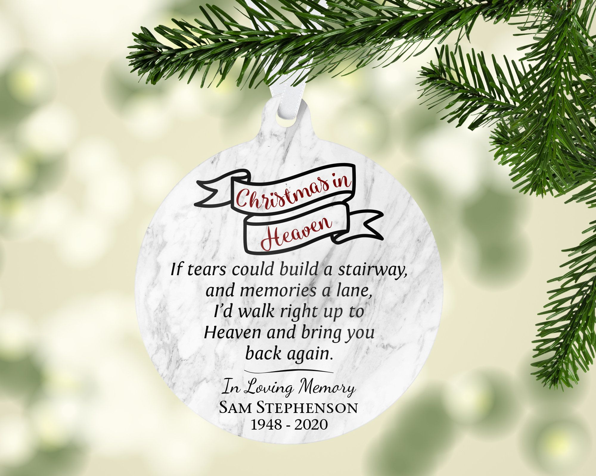 Personalized Ornament Christmas In Heaven Memorial Christmas Etsy Christmas In Heaven Christmas In Heaven Ornament Personalized Ornaments