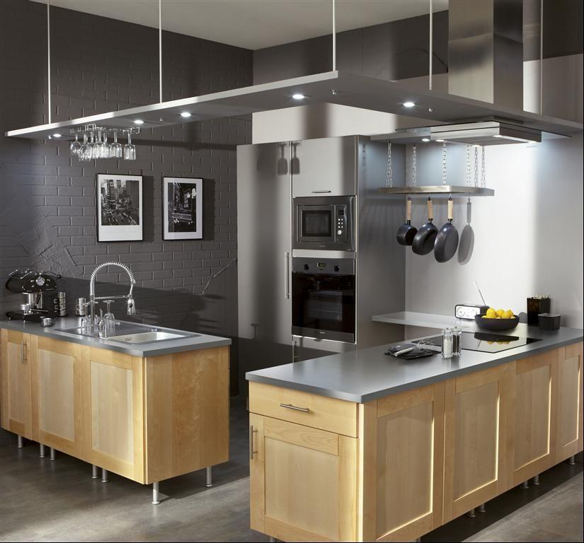 Mur couleur gris souris et meubles de cuisine en bois clair cuisine cuisine bois clair - Meuble gris clair ...