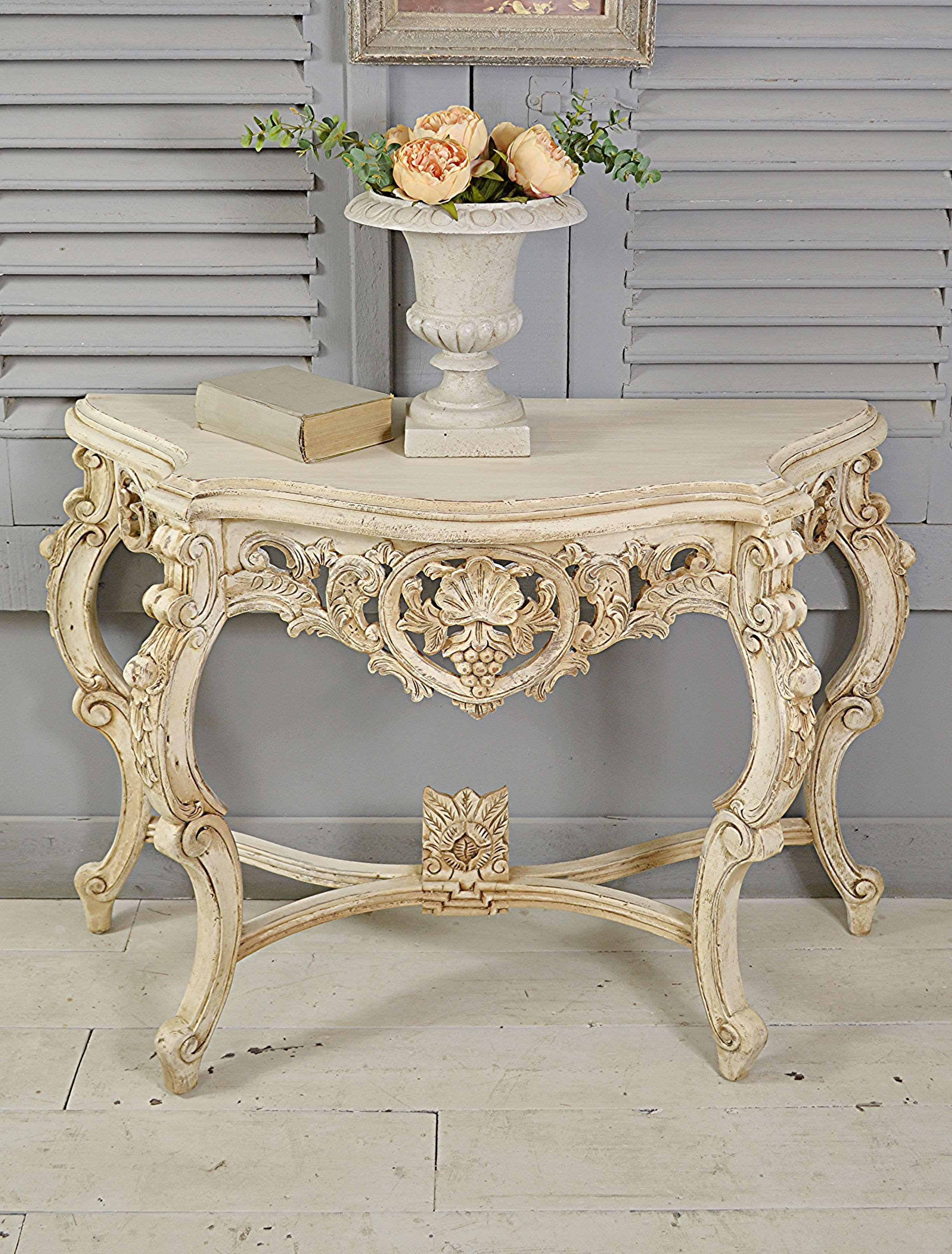Letstrove Stunning Ornate French Console Table In Original White