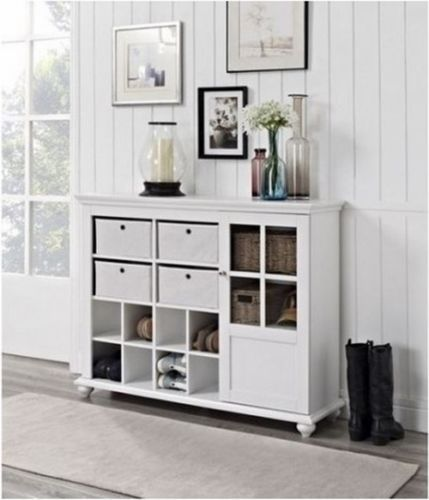 Entryway Storage Cabinet Living Room Furniture Hutch Shelves Bins Cubbies
