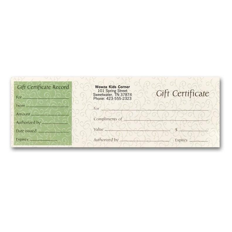 Gift certificate to promote business or service Gift Certificates - gift certificate with stub