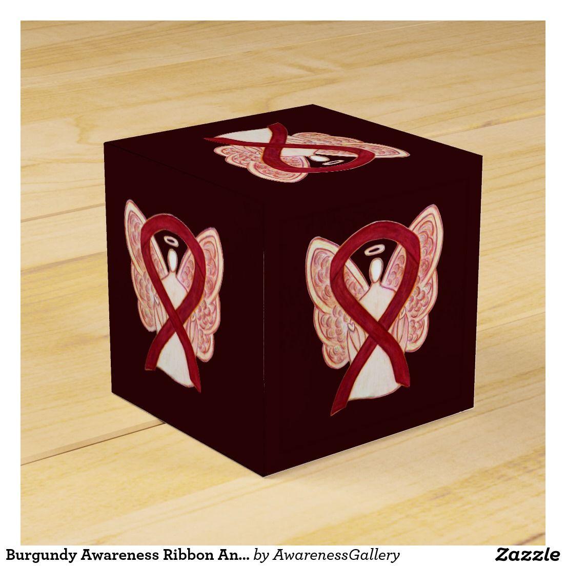 Burgundy Awareness Ribbon Angel Party Favor Box
