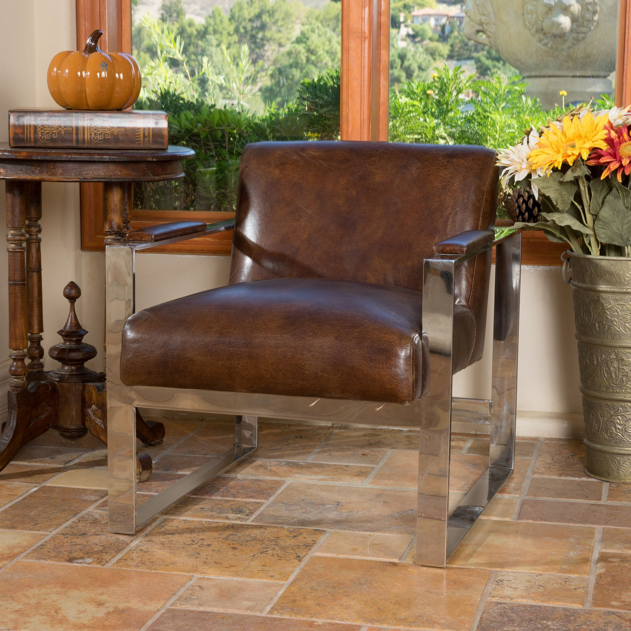 Charming #ad Cleveland Mid Century Modern Design Steel Frame Top Grain Leather Chair  The Cleveland
