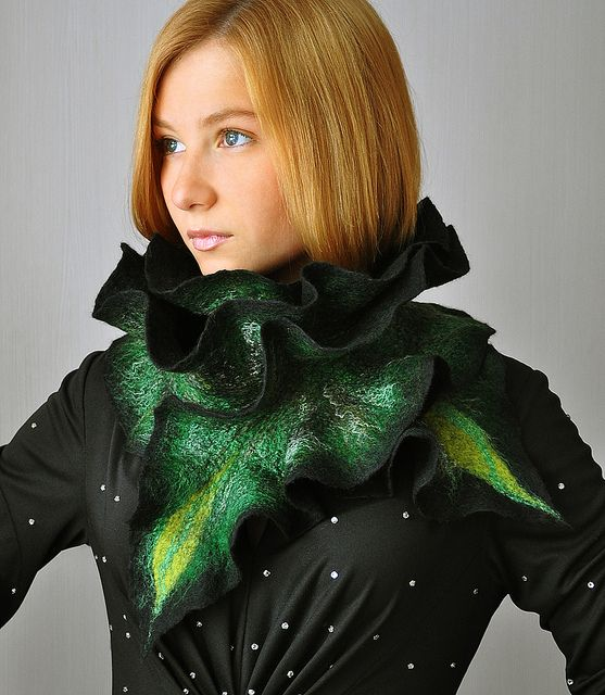 "Handmade felted scarf ""Amazon waterfalls"" by ShellenDesign, via Flickr"