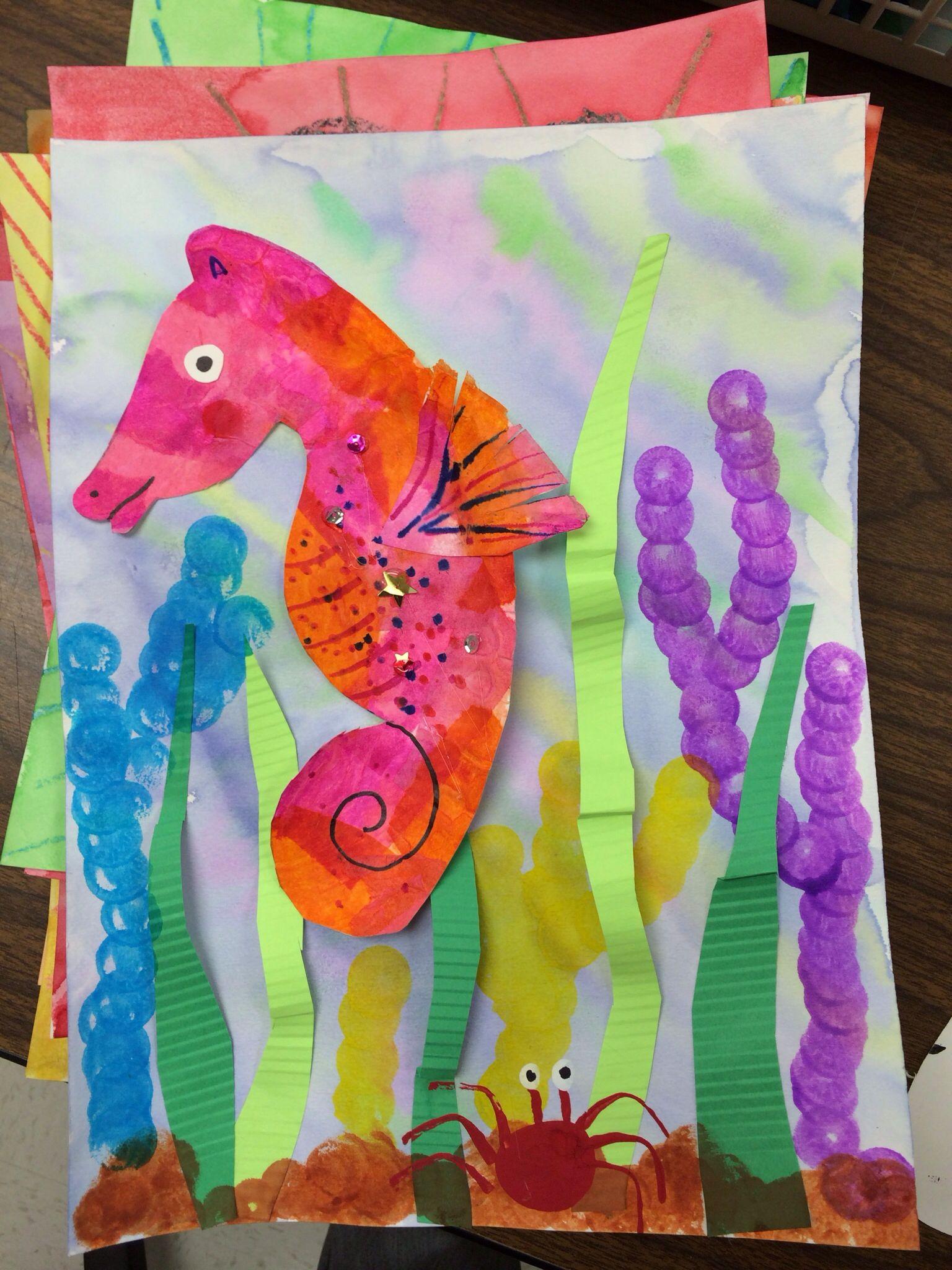 Kinder Art Project Eric Carle Mr Seahorse Classroom Art Projects Kindergarten Art Art For Kids [ 2048 x 1536 Pixel ]