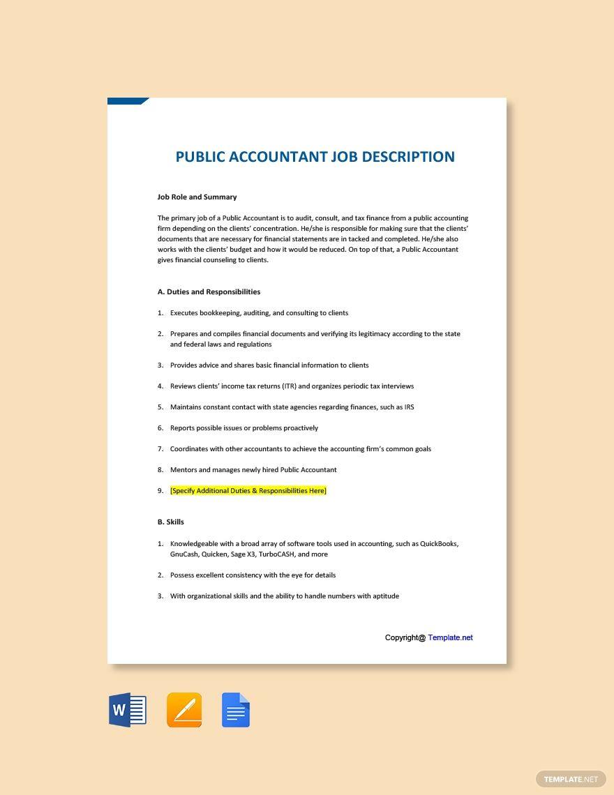 Free Public Accountant Job AD/Description Template in 2020