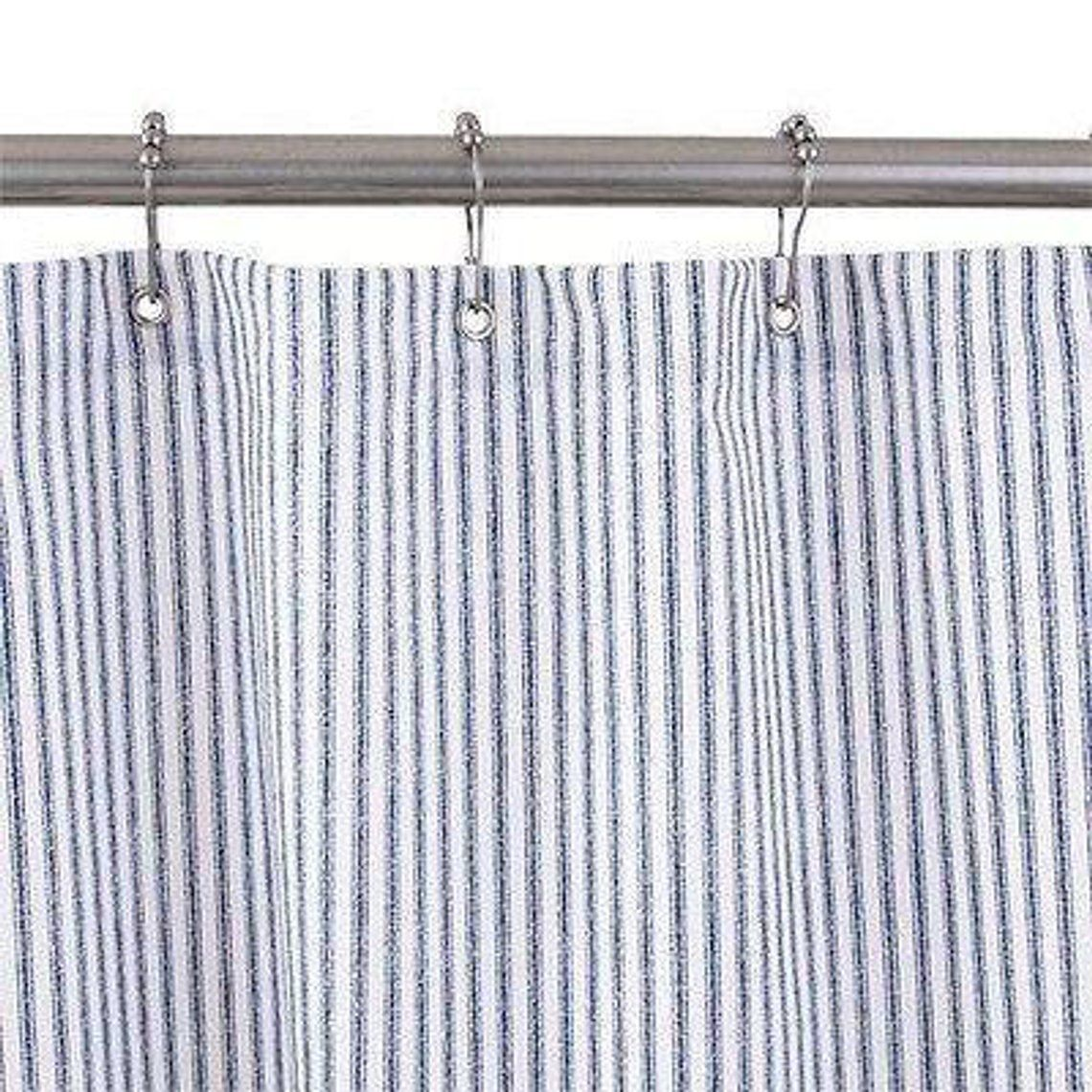 Shower Curtain Blue Ticking Cotton No Liner Needed 3 Sizes Made In