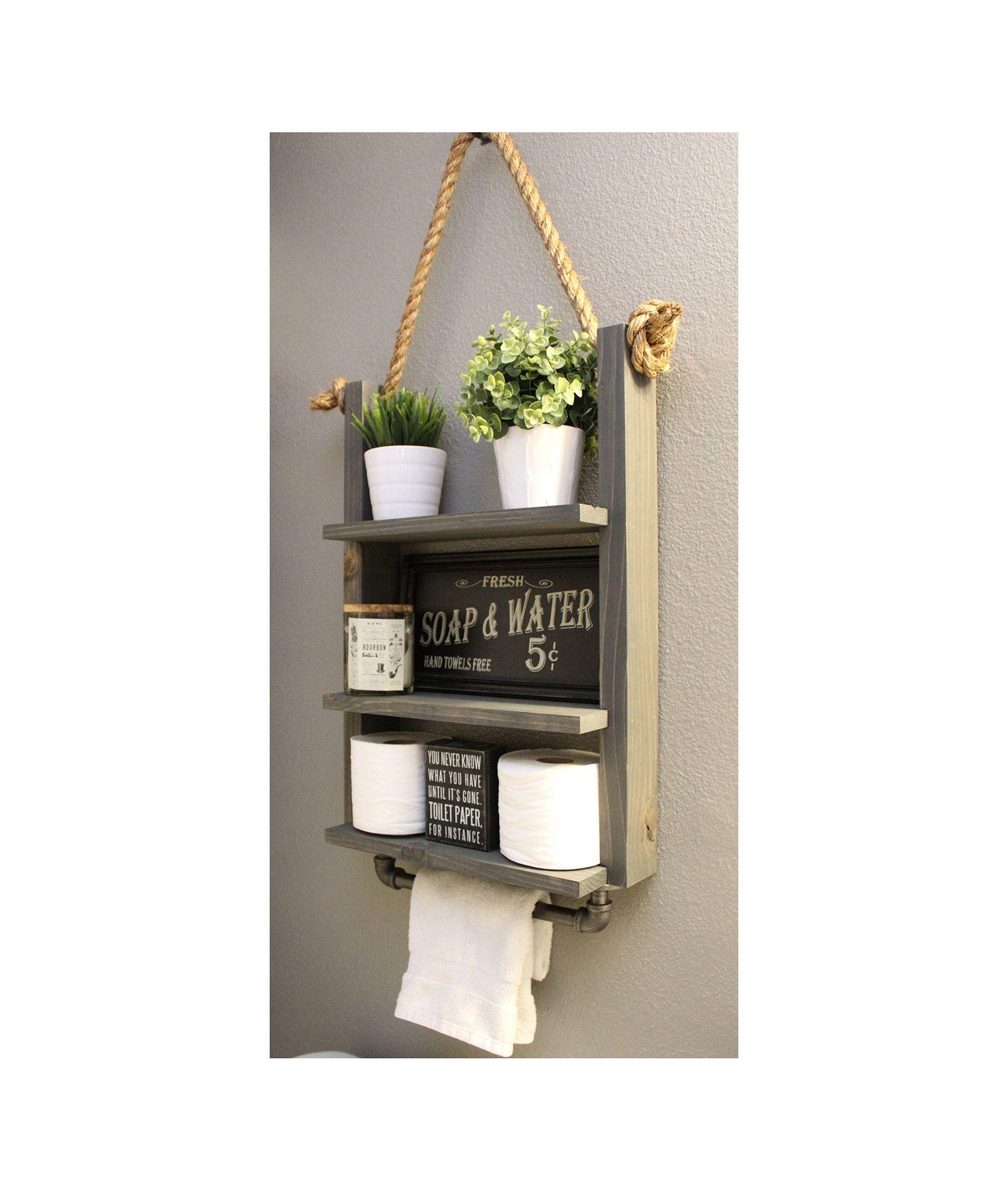 Bathroom farmhouse ladder shelf industrial towel bar