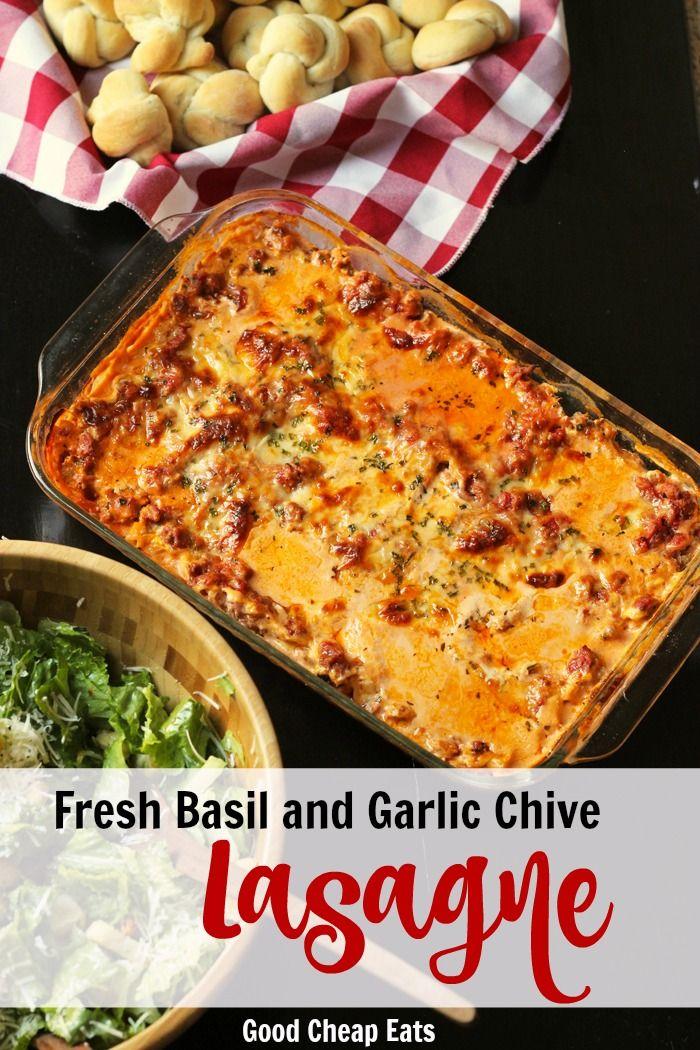 Fresh Basil and Garlic Chive Lasagne