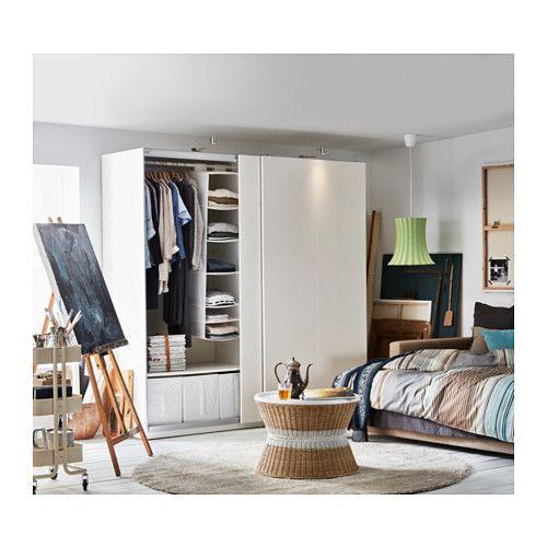 PAX Wardrobe, white, Hasvik white Pax wardrobe, Ikea pax wardrobe - armoire a balai exterieur