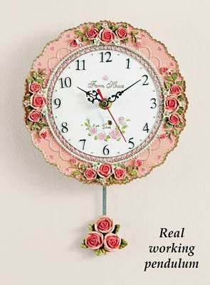 Vintage Rose Pendulum Wall Clock