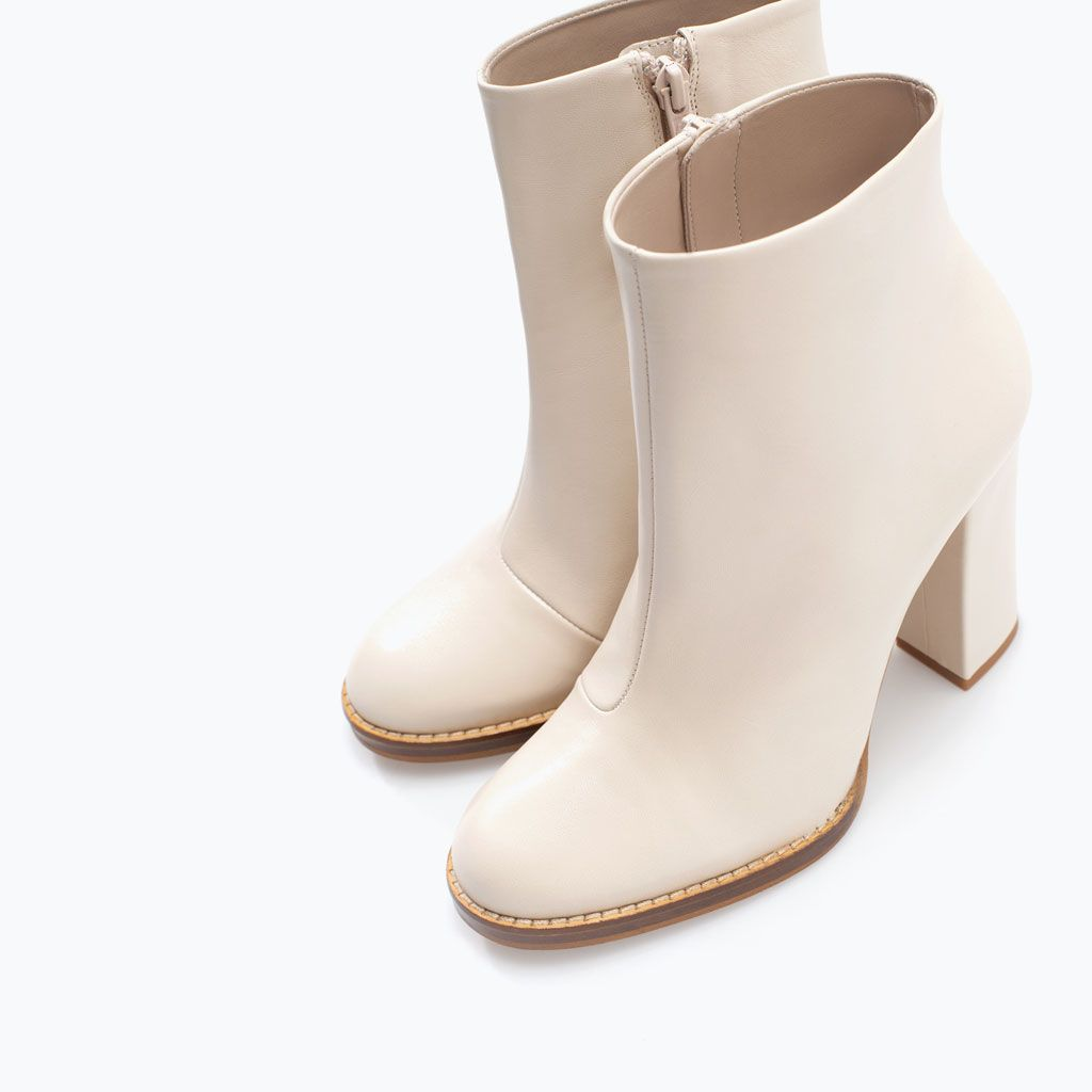 Image 4 of WIDE,HEELED LEATHER BOOTIE from Zara $119.00 Size 6 1/2