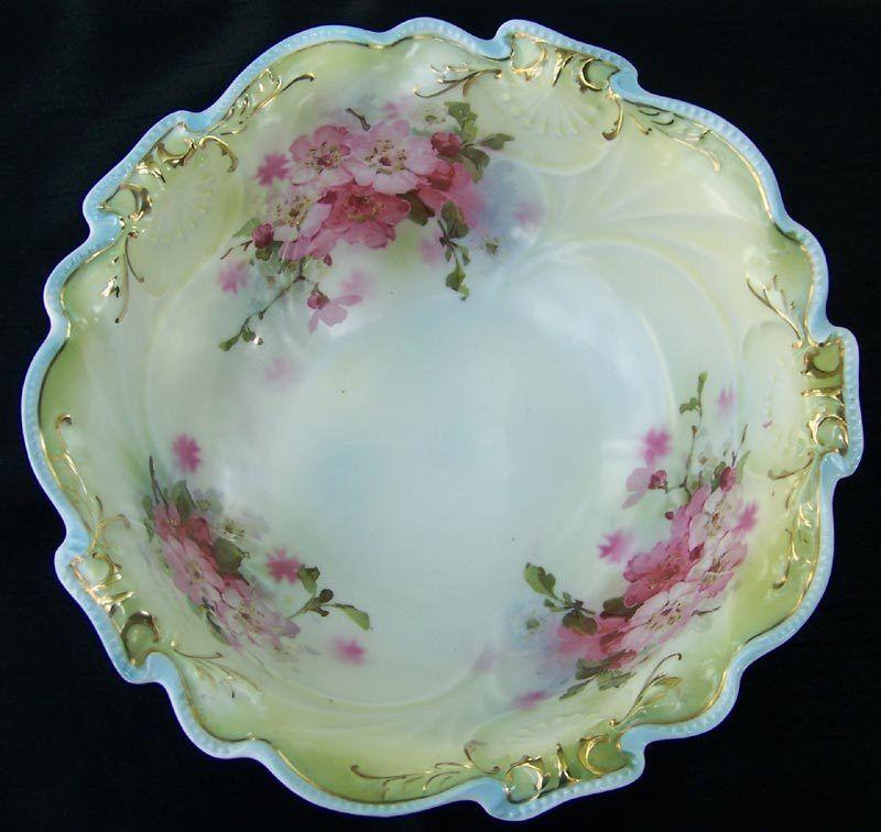 "Royal Bayreuth Seashell Mould Floral 10"" Serving Bowl"