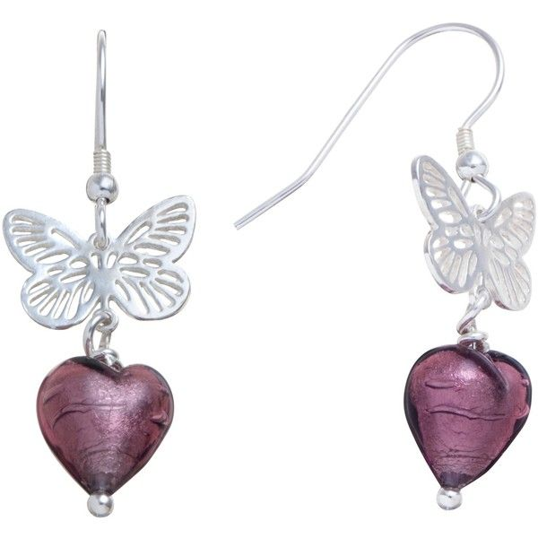 Martick Sterling Silver Butterfly Murano Glass Heart Earrings , Plum ($47) ❤ liked on Polyvore featuring jewelry, earrings, butterflies, fairies, hearts, plum, butterfly jewelry, earring jewelry, sterling silver heart jewelry and monarch butterfly earrings