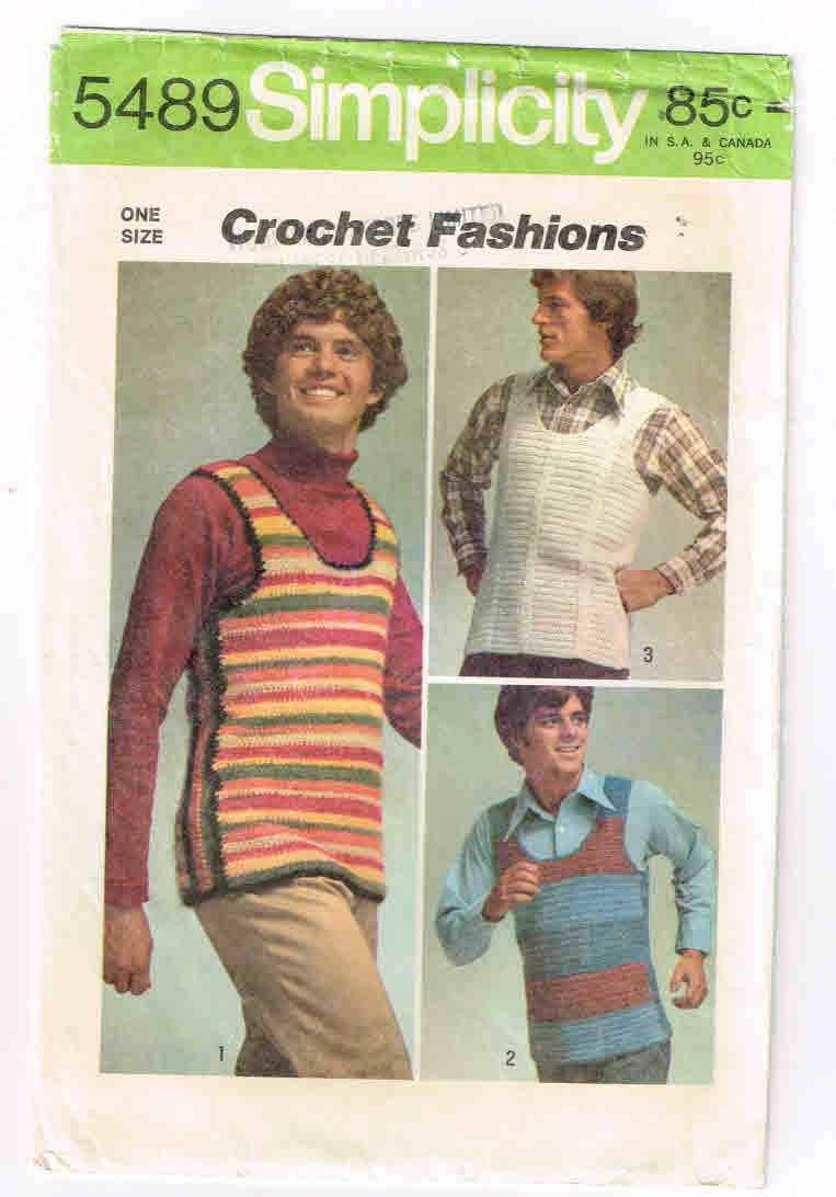 "Simplicity #5489 Vintage Crochet Instructions, Men's Set of Pullover Vests In Men's Sizes, Small 34 - 36"", Medium 38 - 40"", Large 42 - 44"" by TheShoppingMoll on Etsy"
