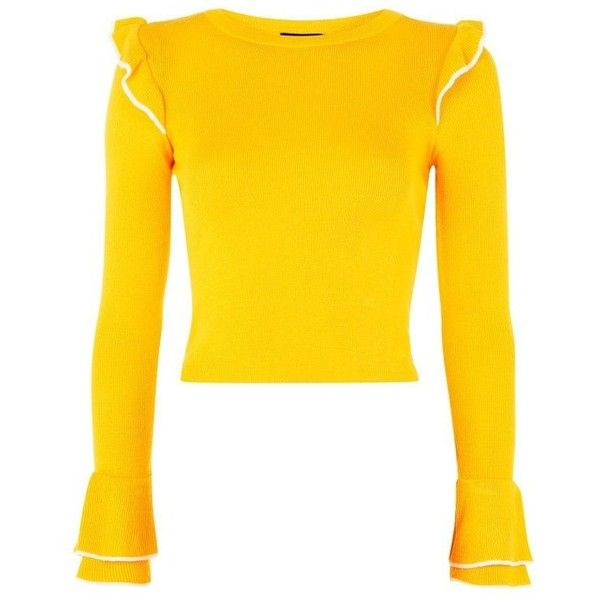 Women's Topshop Tipped Ruffle Crop Sweater (£40) ❤ liked on Polyvore featuring tops, sweaters, cut-out crop tops, fine gauge sweater, frill crop top, ruffle crop top and flounce crop top