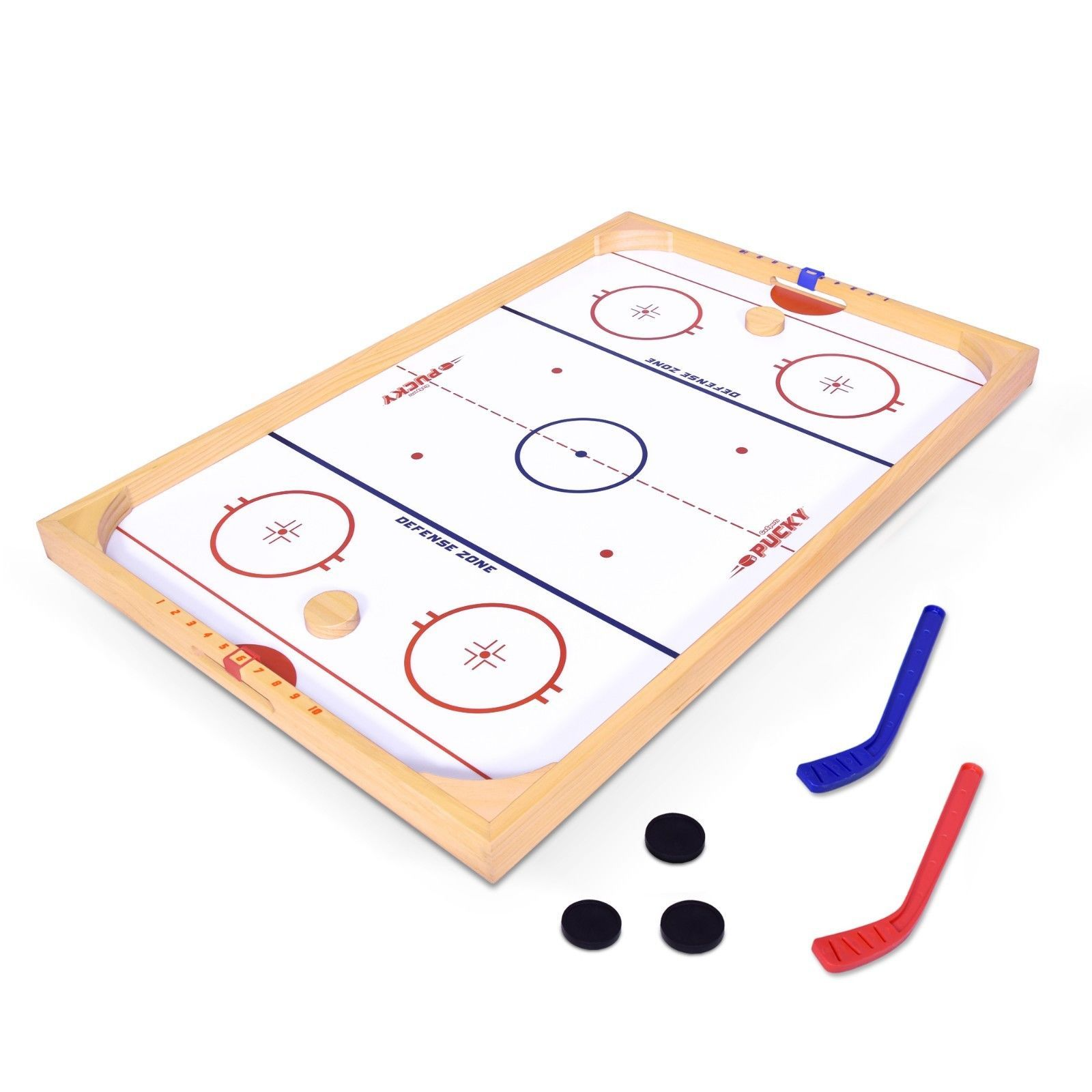 Gosports Ice Pucky Wooden Table Top Hockey Rink Game For Kids Adults In 2020 Wooden Table Top Top Games For Kids Air Hockey Table