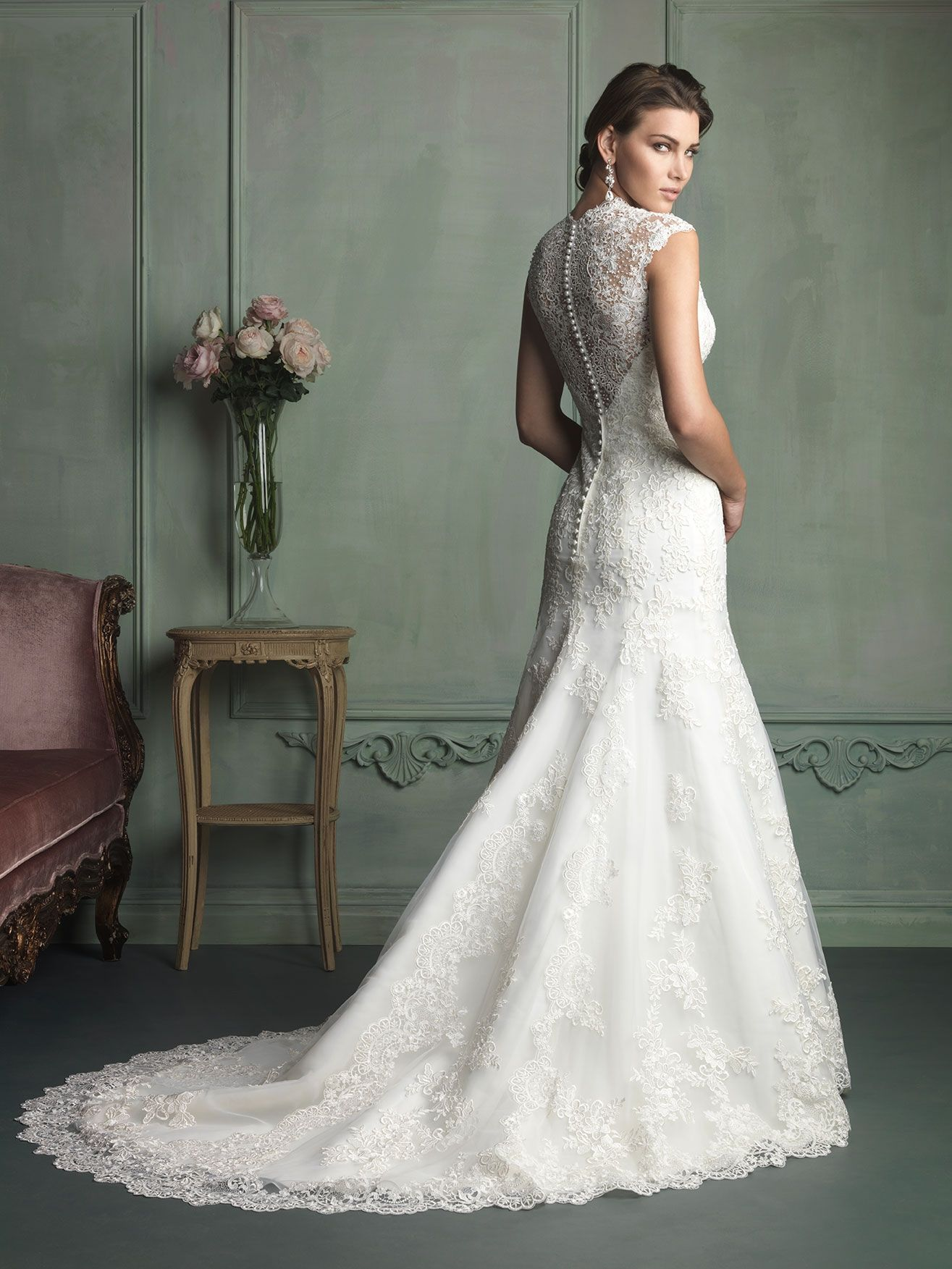 allure bridals style 9113 i love the back on this buttons down the