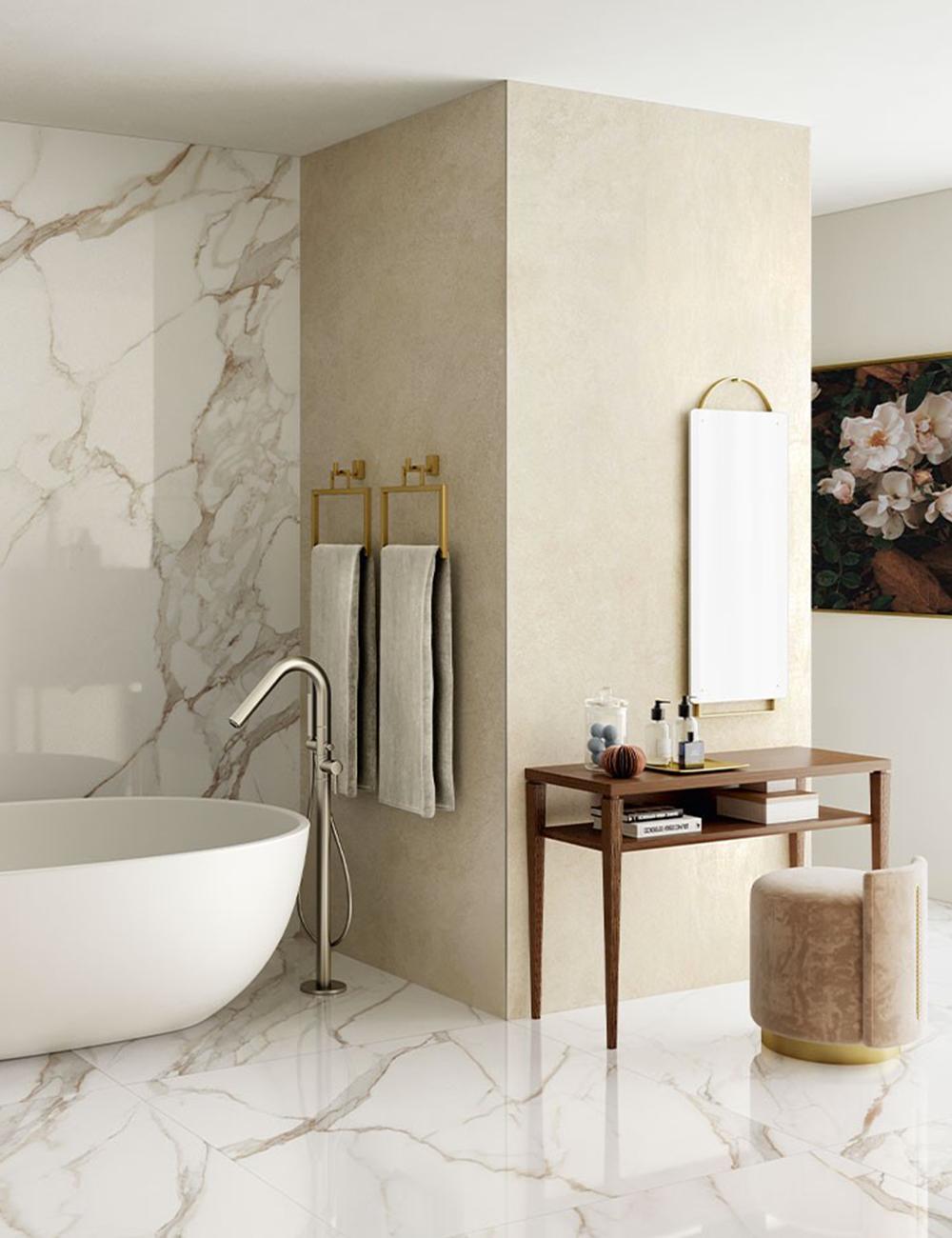 Pavimento Finto Marmo Lucido xlab calacatta 120x280 - lastra in gres effetto marmo nel