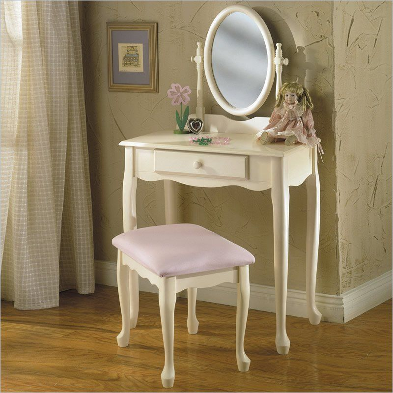 Powell Furniture Girl's Vanity With Mirror And Bench Set In Off