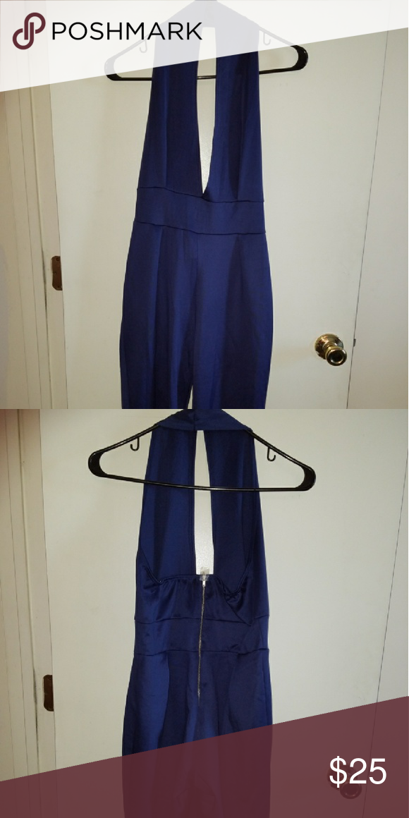 Sexy Halter Backless Bodycon Jumpsuit Sleeveless, backless, navy blue, bodysuit, tight,  stretchy, capri pants legs. Can wear for many occasions!!! Pants Jumpsuits & Rompers