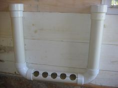 Great homemade PVC pipe feeder for the chicken coop! Food funnels in from both ends.