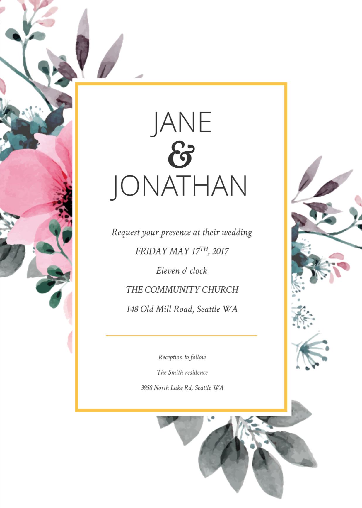 Fl Splash Wedding Invitation