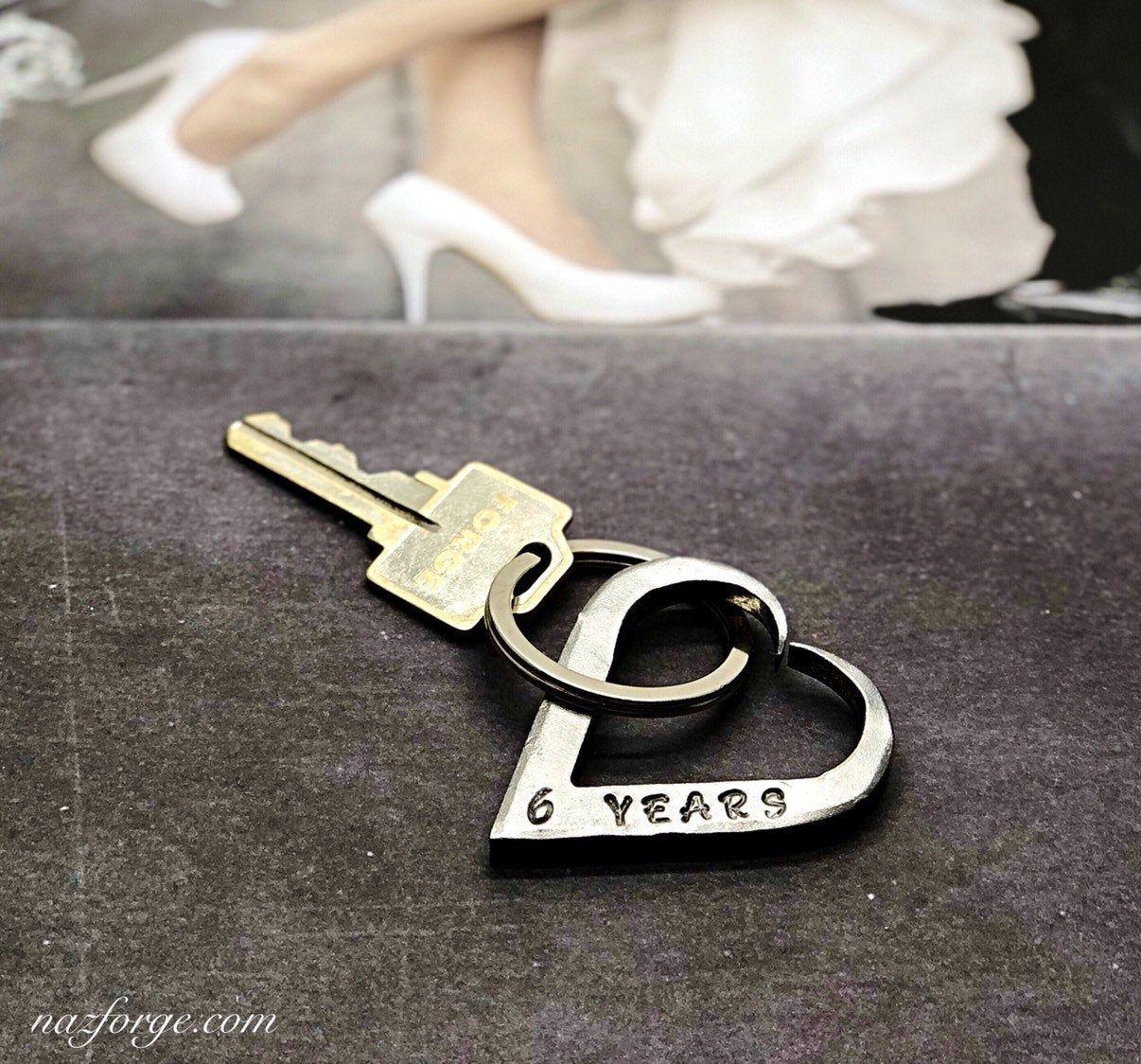 6th wedding anniversary iron keychain gift idea for wife