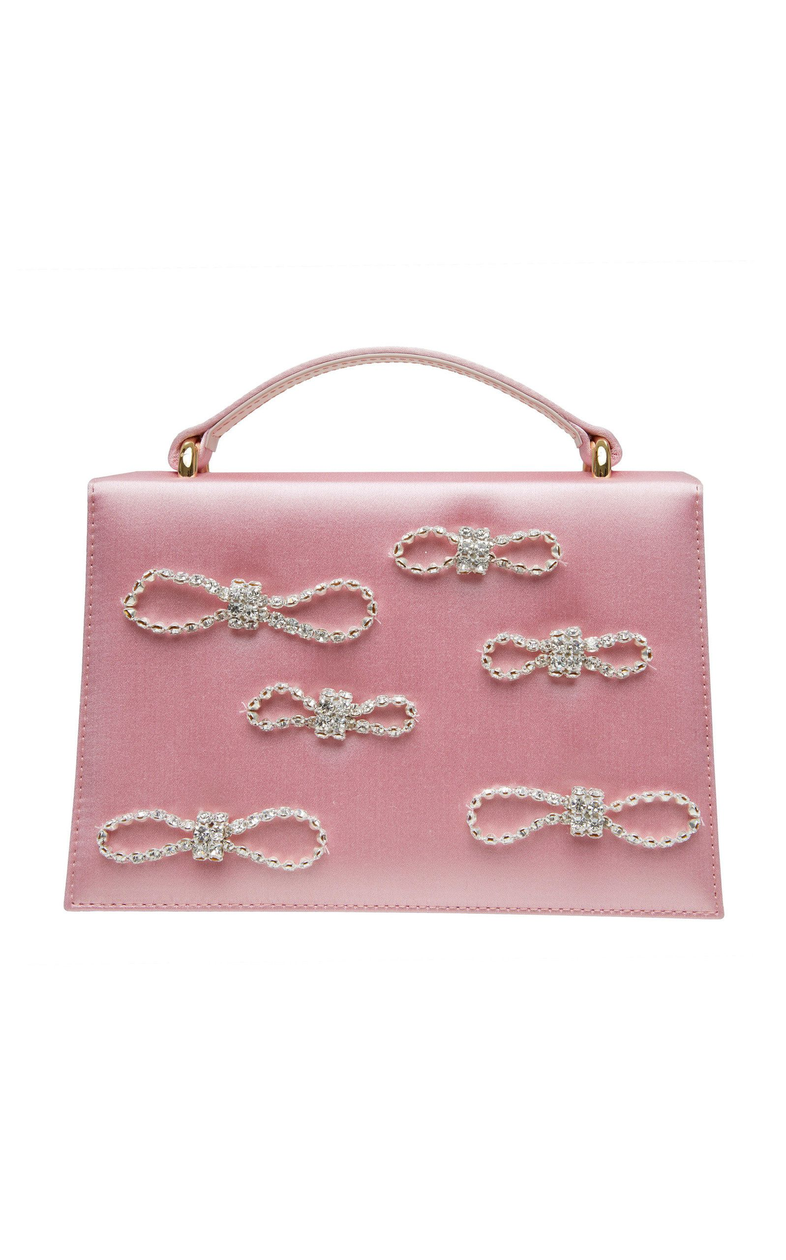 Crystal bow embellished satin top handle bag by mach