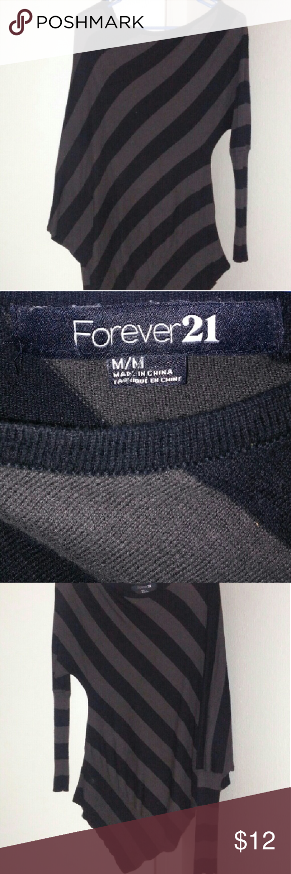FOREVER 21 SWEATER Grey/Black Sweater *EUC* Size Medium Forever 21 Sweaters Cardigans