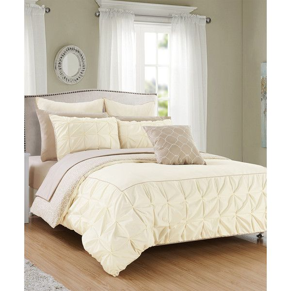 Chic Home Design Beige Solomon Comforter Set ($70) ❤ Liked On Polyvore  Featuring Home