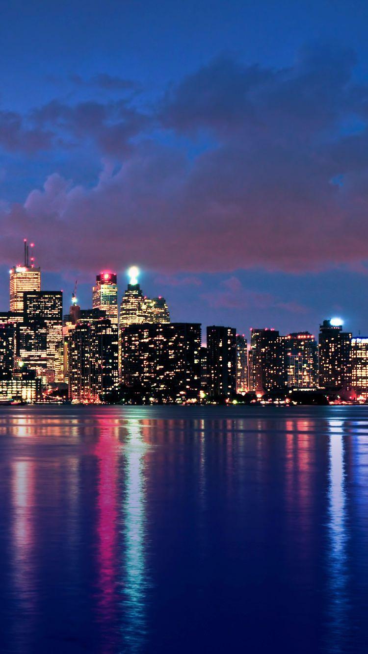 海沿いの都会の夜景 Iphone6壁紙 Wallpaperbox 美しい風景 風景 綺麗 景色