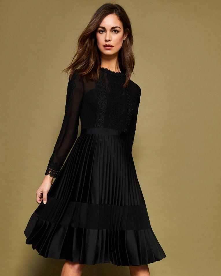 Lace Trim Pleated Midi Dress Black Dresses Ted Baker Uk Pleated Midi Dress Black Midi Dress Black Dresses Uk