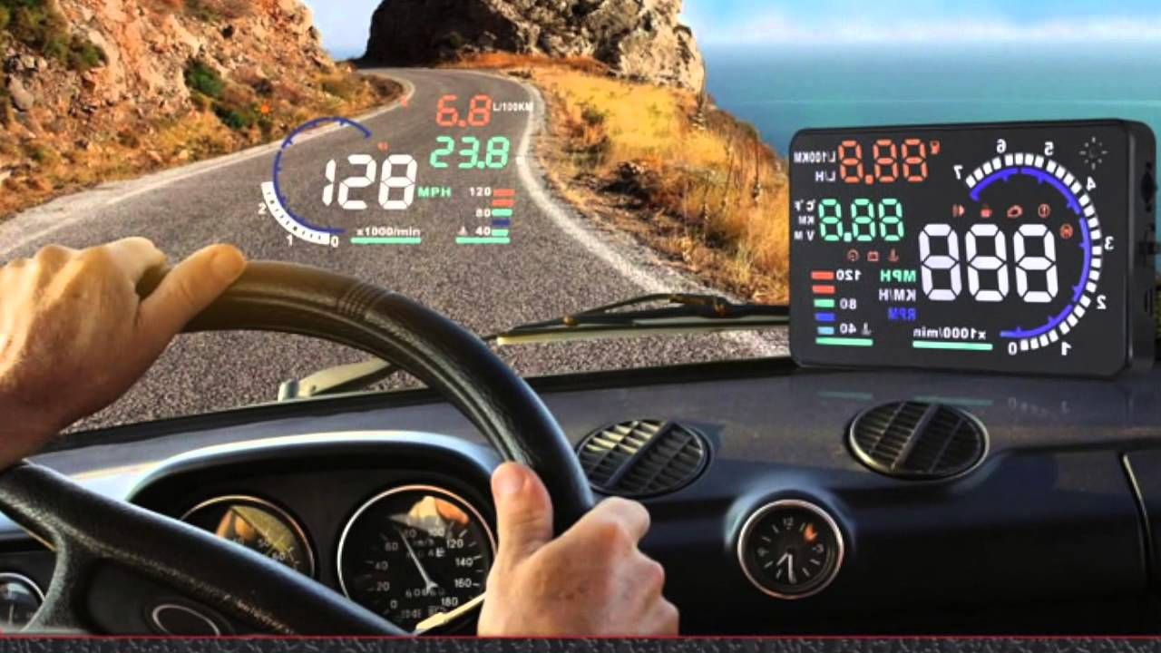 Get all the driving information you need like speed, temperature and fuel consumption all from this HUD - heads-up display. Place it on a convenient spot for you.  No more awkward location of speedometer, odometer...  #hud #headsupdisplay #headsup #display