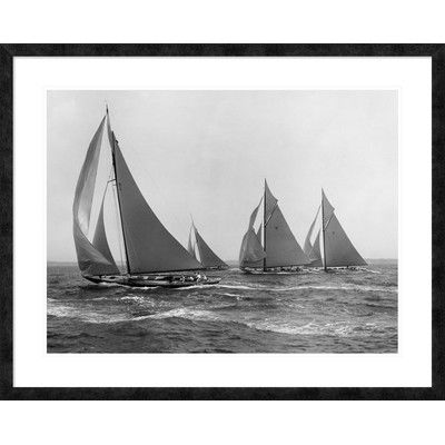 """Global Gallery 'Sloops at Sail, 1915' by Edwin Levick Framed Graphic Art Size: 32"""" H x 40"""" W x 1.5"""" D"""